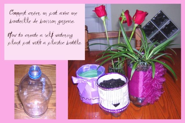 faire des pots de fleurs avec des bouteilles de plastique feutrine et crinoline. Black Bedroom Furniture Sets. Home Design Ideas