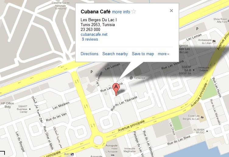 Cubana Café Lac - plan d'accès