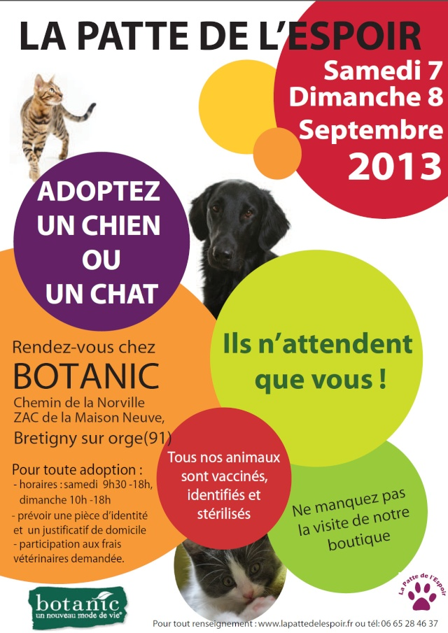 7 et 8 septembre 2013 we adoption botanic de br tigny sur orge 91. Black Bedroom Furniture Sets. Home Design Ideas